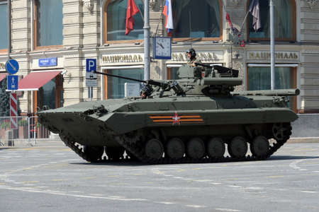 Upgraded infantry fighting vehicle BMP-2M on Tverskaya street during the dress rehearsal of the parade dedicated to the 75th anniversary of the Victory