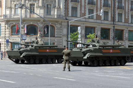 BMP-3 infantry fighting vehicle on Tverskaya street during the dress rehearsal of the parade dedicated to the 75th anniversary of the Victory