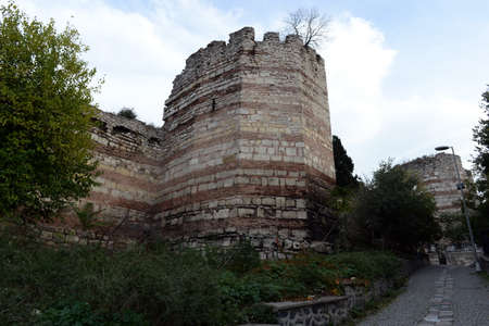 Fortress walls of ancient Constantinople in Istanbul. Turkey