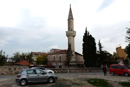 Mosque in the old street of Ayvansaray in Istanbul. Turkey Editorial