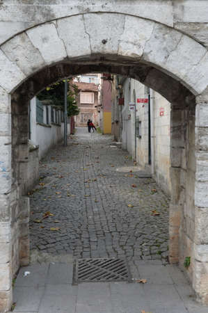 On an old street in the Eyup Sultan city district of Istanbul. Turkey