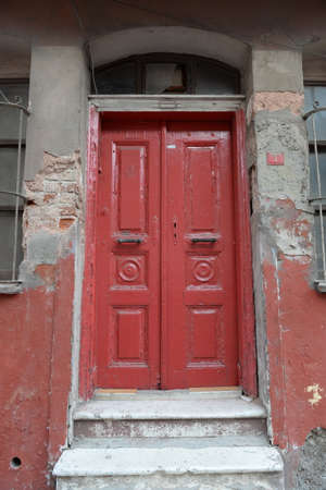 Old door in a house on the street of Ayvansaray in Istanbul. Turkey Editorial