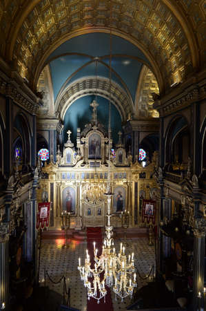 Interior of the Bulgarian Church of St. Stephen on the shore of the Golden horn Bay in Istanbul, Turkey