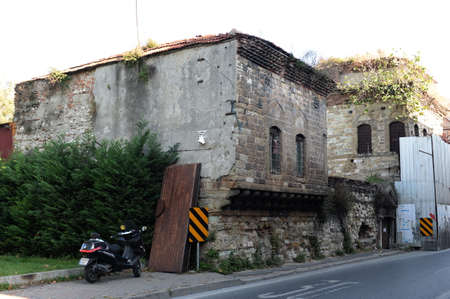 The old building on the street Murselpasa in the urban area of Istanbul. Turkey