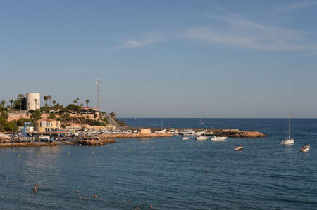 Yacht Marina and beach in Cabo Roig. Costa Blanca. Orihuela. Spain 新聞圖片