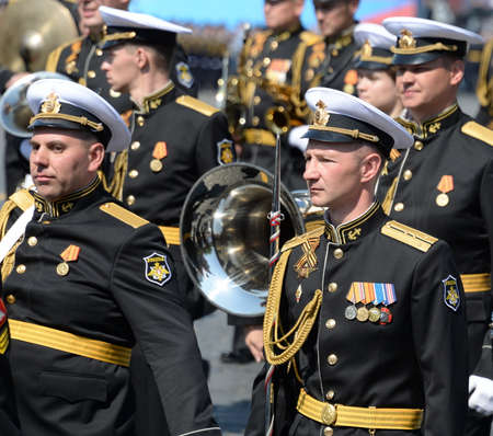 Military musicians at the dress rehearsal of the Victory day parade on Moscow red square