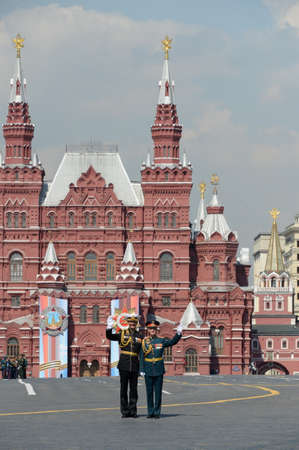 Officers on Moscow red square after a dress rehearsal for the Victory day parade Editöryel