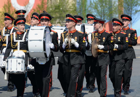 Students of the Moscow military music school at the dress rehearsal of the parade on red square in honor of Victory Day