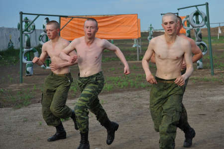 Soldiers take a morning jog in a military unit