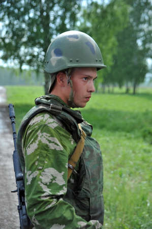 Russian army soldier at the military training ground Editöryel