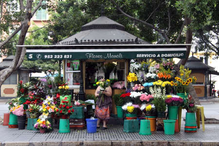 Flower kiosk on the street of the seaside city of Malaga