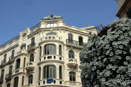 Old building in the center of the Spanish seaside city of Malaga