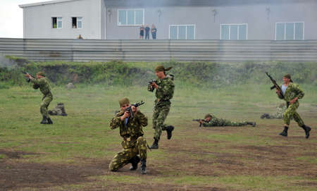 Working out the training battle of Russian special forces soldiers Stok Fotoğraf