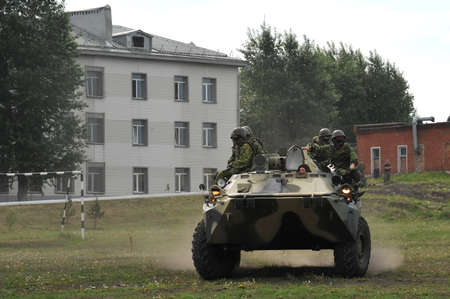 Soldiers on an armored personnel carrier BTR-80 practice their skills at the training ground Editöryel