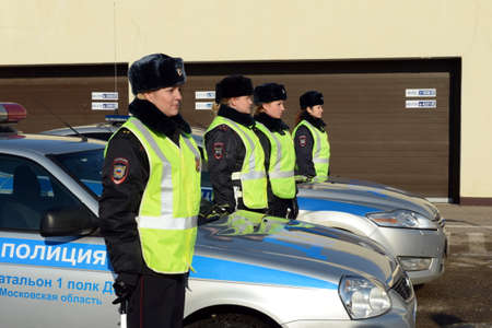 Inspectors of the road patrol service of the police on divorce before taking up the patrol of roads
