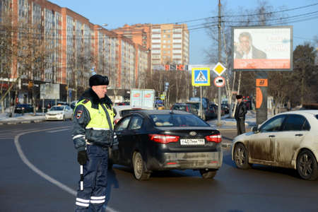 Inspector of the road patrol service of the police on the road in the city of Odintsovo
