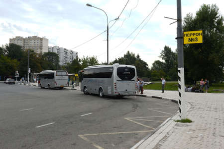 Intercity buses at the boarding platforms at the Orekhovo bus station in Moscow