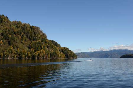 Autumn on Lake Teletskoye. Altai Republic. Western Siberia. Russia