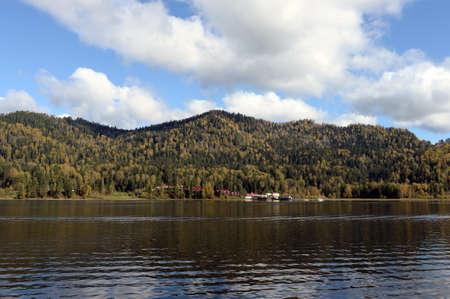 Autumn on Lake Teletskoye. Altai Republic. Western Siberia. Russia Standard-Bild