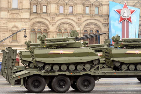 """Remotely controlled robotic complex """"Uran-9"""" at the Victory Day parade on Moscow's Red Square Sajtókép"""