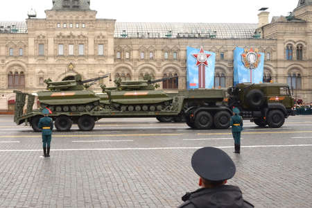 """Remotely controlled robotic complex """"Uran-9"""" at the Victory Day parade on Moscow's Red Square"""