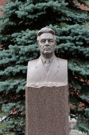Bust of the leader of the Soviet Union Leonid Brezhnev on the grave at the Kremlin Wall on Red Square in the center of Moscow