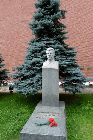 The grave of Soviet leader Joseph Stalin at the Kremlin Wall in Moscow