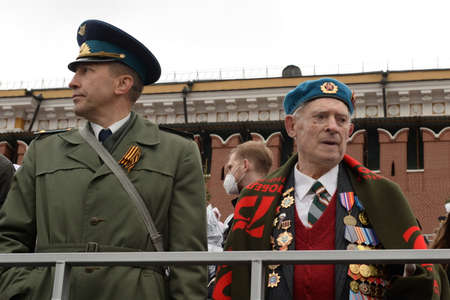 Participant of the Great Patriotic War Semyon Yakovlevich Lyulko on the Red Square of Moscow during the celebration of the 76th anniversary of the Victory