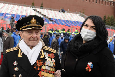 Veteran of the Great Patriotic War, Captain of the first rank Alexey Onishchenko on Moscow's Red Square during the celebration of the 76th anniversary of the Victory