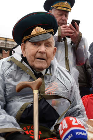 A veteran of the Great Patriotic War on Moscow's Red Square during the Victory Day celebration on Red Square