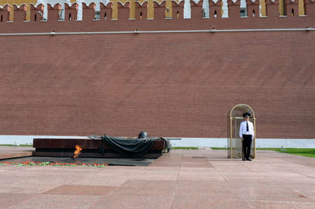 Guard of honor at the grave of the unknown soldier in the Alexander Garden near the walls of the Moscow Kremlin