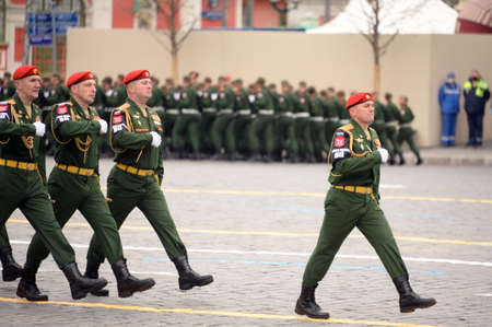 The commander of the parade squad of the military police, Lieutenant Colonel Vitaly Pikalov, during the parade on Moscow's Red Square in honor of Victory Day