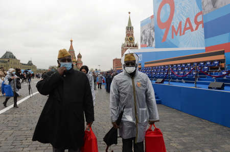 Representatives of the Central African Republic on Moscow's Red Square during the Victory Day celebration Sajtókép