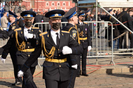 Soldiers of the presidential regiment during the dress rehearsal of the military parade on Red Square in Moscow