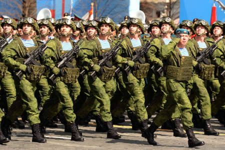 Paratroopers of the 331st Guards Parachute Regiment of Kostroma during the dress rehearsal of the parade on Red Square in honor of Victory Day