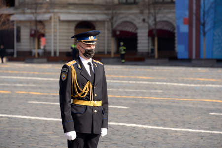 A soldier of the presidential regiment during the dress rehearsal of the military parade on Red Square in Moscow