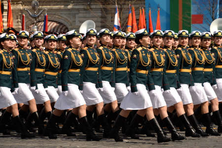 Female cadets of the Military University and the Volsky Military Institute of Material Support during the dress rehearsal of the parade on Red Square in honor of Victory Day Sajtókép
