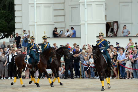 The ceremony of divorce of horse and foot guards of the Presidential Regiment on the Cathedral Square of the Moscow Kremlin Sajtókép