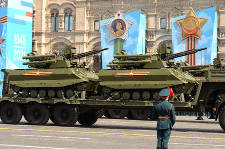 """Remotely controlled robotic complex """"Uran-9"""" at the dress rehearsal of the Victory Day parade on Moscow's Red Square"""