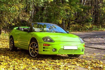 Car against the autumn trees near the road photo