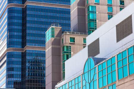 urbanistic: Colored glass windows of modern skyscrapers in Philadelphia Stock Photo