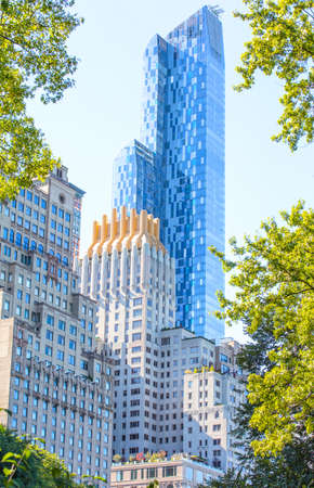 urbanistic: View from the Central Park of New York to skyscrappers Stock Photo