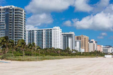 urbanistic: Modern residential buildings on the coast in Miami Beach, Florida