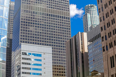 urbanistic: Colorful skyscrapers and blue sky in Downtown of Los Angeles, California Stock Photo