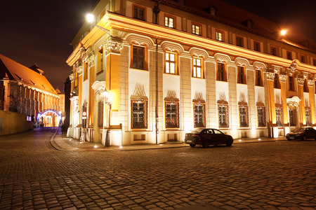 street in Ostrow Tumski at night