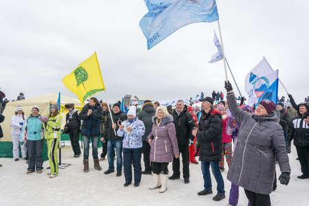 wintery snowy: At the festival of Winter fun in Uglich 2015. Russia, Uglich, February 07.