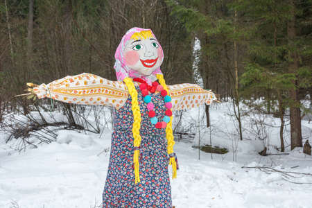 maslenitsa: The effigy of carnival is in a forest glade. Ivanovo, Russia, February 22, 2015. On the holiday of Maslenitsa. Editorial