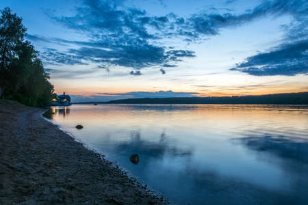 the volga river: Beautiful sunset on the Volga river