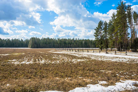 fenced in: Rural landscape in early spring. Pastures for cattle fenced with a wooden fence. Stock Photo