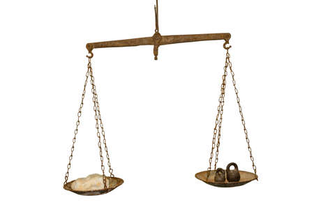 antique scales: Antique scales corroded by rust on a white background.